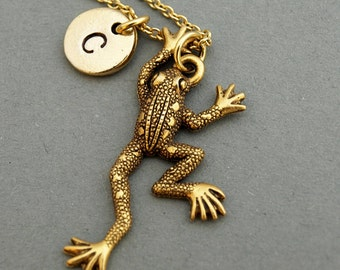 Frog charm necklace, antique gold, initial necklace, initial hand stamped, personalized, monogram