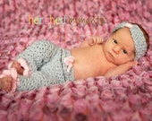 PATTERN Girls Pant and Bow Headband Photo Prop - Crochet Newborn