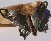 Vintage Etched Silver Tone Metal Butterfly Brooch with Purple and Green Rhinestones