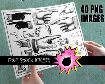 Pointing Finger - Digital Stamp Images of Hands - Finger Pointing Busy Hand Digital Stamps Clip Art - 40 Downloadable Images of Hands
