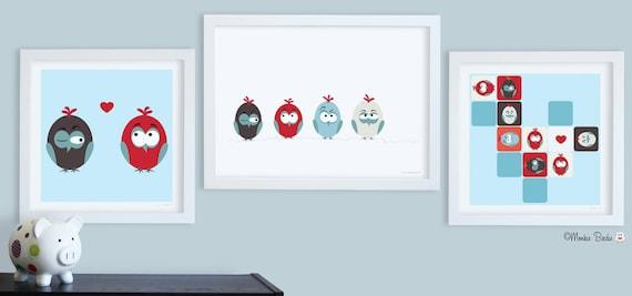 Nursery art, baby nursery decor, nursery wall art, birds, kids art, birds on a wire, lovebirds , Set of 3 Prints- Birds