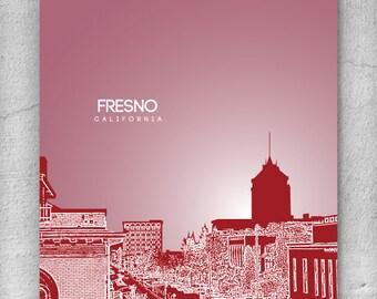 Modern Skyline Art Poster / Office Art / Fresno CA Cityscape / Any City or Landmark