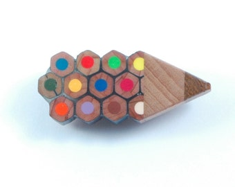 quirky handmade upcycled multicolour pencil, oak and walnut wood  badge