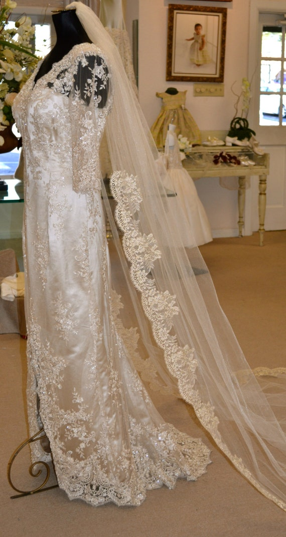 Gold Lace Mantilla Veil Cathedral Length By Couturesbylaura