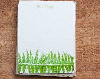 Note Card Stationary - Personalized Stationery Set - Gift for Her - Fern