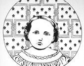Original Ink Drawing of Civil War Era Girl Number 2