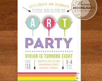 Art Party - Paint Party Birthday Party 5x7 Invitation Printable DIY (Rainbow Colors - Paint Brush - Color Pencils)