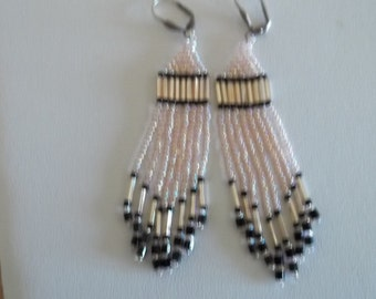 Long beaded earrings, pink and black