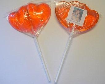 1 dz Hard Candy Double Heart Shaped Lollipop Valentine Party Favors w/ Personalized Back Labels, Wedding Favor