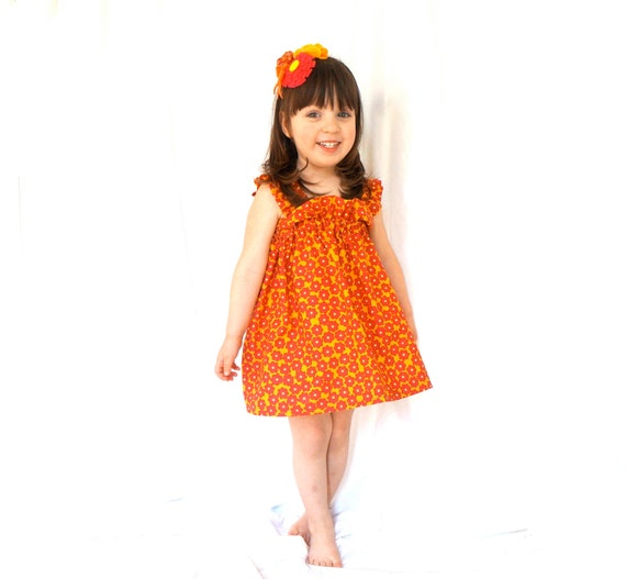 Little Girl's Ruffle Sundress - Orange, Maroon, and Yellow Flowers