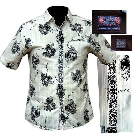 Mens black and white flower print beach shirt mens hawaiian for Mens white floral shirt