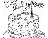 PDF Colouring Book Single Page.  Happy Birthday with Dinosaur. digital file, printable, hearts, girl, boy,