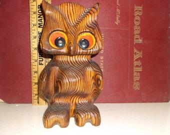 Retro Witco owl Vintage mid century modern wooden with big eyes .epsteam