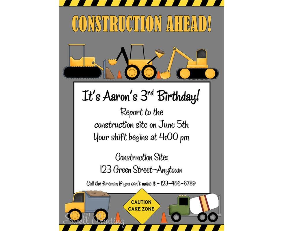 Printable Construction Birthday Invitation Heavy Equipment – Digital Birthday Invitations