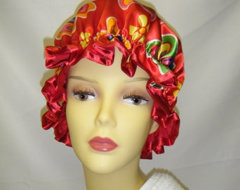 Red Funky Satin Flowered Shower Cap