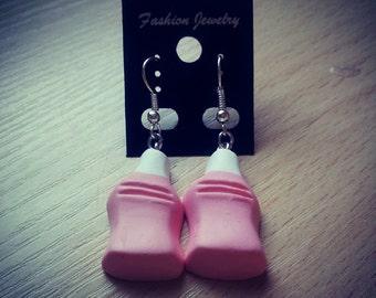 Strawberry milkshake bottle dangle earrings