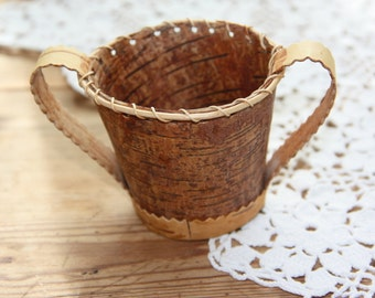 RESERVED/Lovely birch bark cup from Sweden