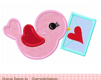 Bird Valentine's Day bird Machine Embroidery Applique Design - 4x4 5x5 6x6""