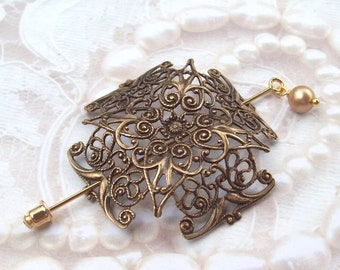 Celtic Cross Shawl Pin, Celtic Lapel Pin, Celtic Stick Pin, gold shawl pin, pagan, brass, spring fashion, gold scarf pin