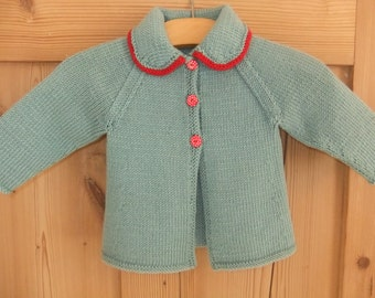 Vintage style hand knitted teal and red baby cardigan - available to order in sizes newborn, 3-6, 6-12 and 12-18 months