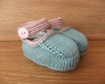 Hand knitted teal and powder pink Mary-Jane baby shoes  -  Available in sizes 0-3, 3-6 and 6-9 months