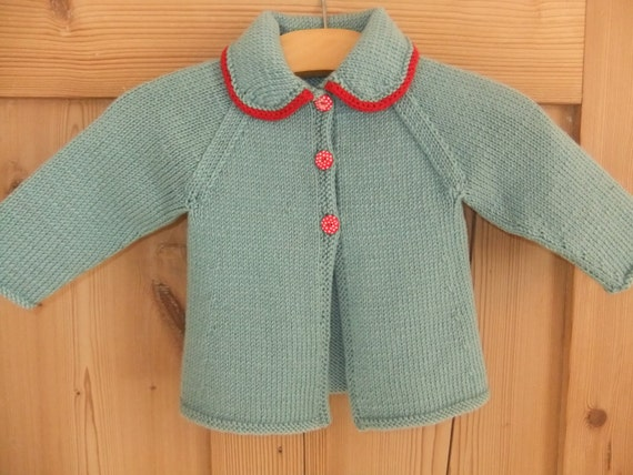 Vintage style hand knitted teal and red baby cardigan - available to order in sizes newborn, 3-6 months and 6-12 months