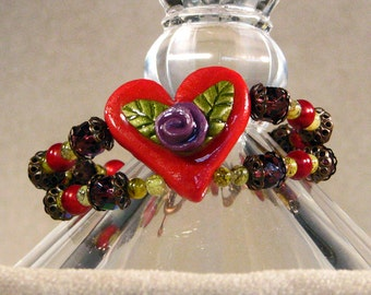 "Red Hat Ladies Jenny Joseph Heart Bracelet 7"" Red Heart w/ Purple Rose and Copper Toggle Clasp"
