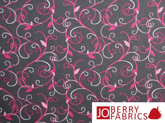 Musings Gray and Pink Vine Fabric
