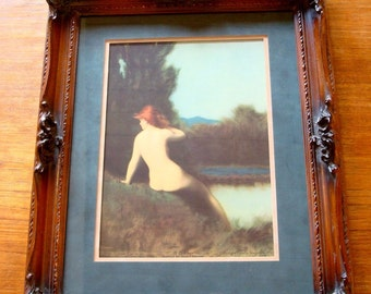 Framed A BATHER By Jean J. Henner, Copyright Excella 1925