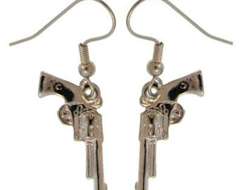 TOUGH GIRL Mini Pistol Gun Earrings - Handpainted