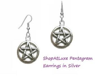Silver Pentagram Wiccan Star Earrings
