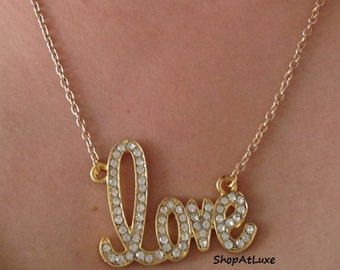 Gold Plated Pave Love Script Fashion Necklace