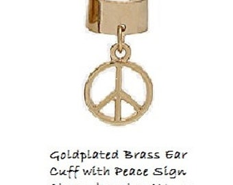 Ear Cuff With Peace Sign Charm Earring in Silver and Gold