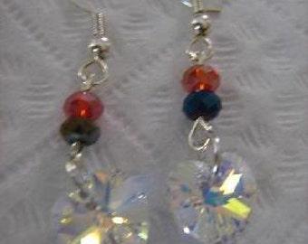 Faceted Swarovski Crystal Heart Dangle Earrings Handmade
