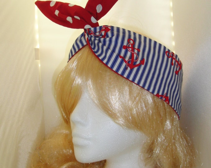 50s Reversible Vtg Navy Anchor And Red Polka Dot Head Scarf With Wire or Not - Rockabilly Blue White & Red