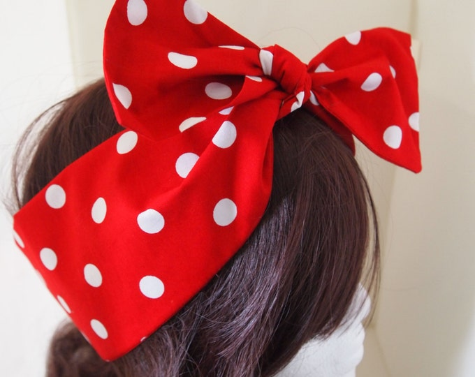 50s Vtg Red Polka Dot Bow Head Scarf - Rockabilly Psychobilly Pin Up Girl Cute Steampunk Vintage Classic Dancing