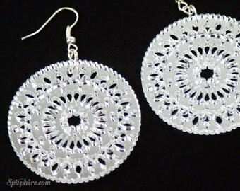 Boho Earrings - Mandala - Silver - Mirror Acrylic - Laser Cut
