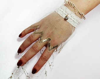 Bridal Wrist Cuffs,  ivory Lace Gloves ,Bridal Lace, hand embroidered Wedding Gloves,Romantic,Fashion,Cuffs Wedding Cuffs