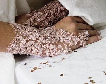 Wedding Gloves, Peach, Pink Lace,  Fingerless Gloves,  Wedding Gown,  Lace Cuffs, Cuff Wedding  Accessory