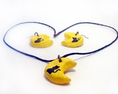 HANDMADE Yellow Moon Black Cat SET Of Necklace & Earrings, Black CAT Jewelry Set, Lucky Jewelry Set, Gift ideas for her, Best gift