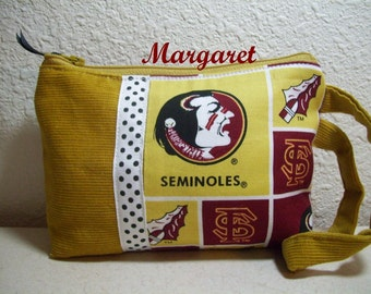 ID Phone  Wristlet, Zippered Pouch using Florida Seminoles Fabric (FSU)