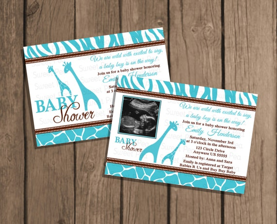 boy blue safari baby shower giraffe jungle baby shower invitation or