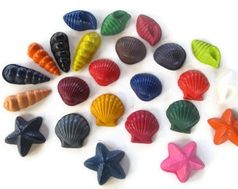 Sea shell set of 20 crayons - party supplies - party favors