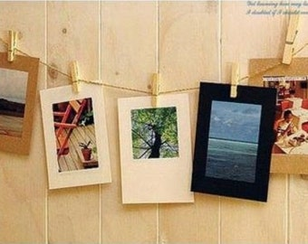 SALE-7pcs Paper Photo Frames for 6-inch Photos with 7 Mini Wooden Pegs.13x17.8cm. Paper.Blank.Retro.Interior Decoration.Scrapbooking Album
