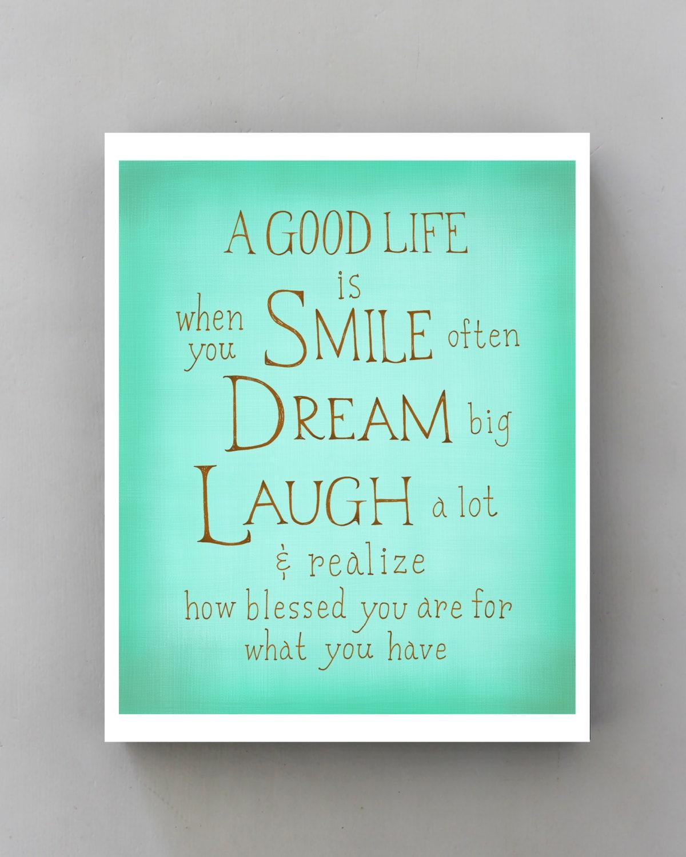 Humor Inspirational Quotes: Smile Dream Laugh... Inspirational Quote Poster Typographic