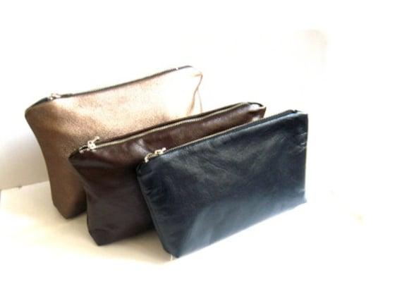 Blue leather makeup bag