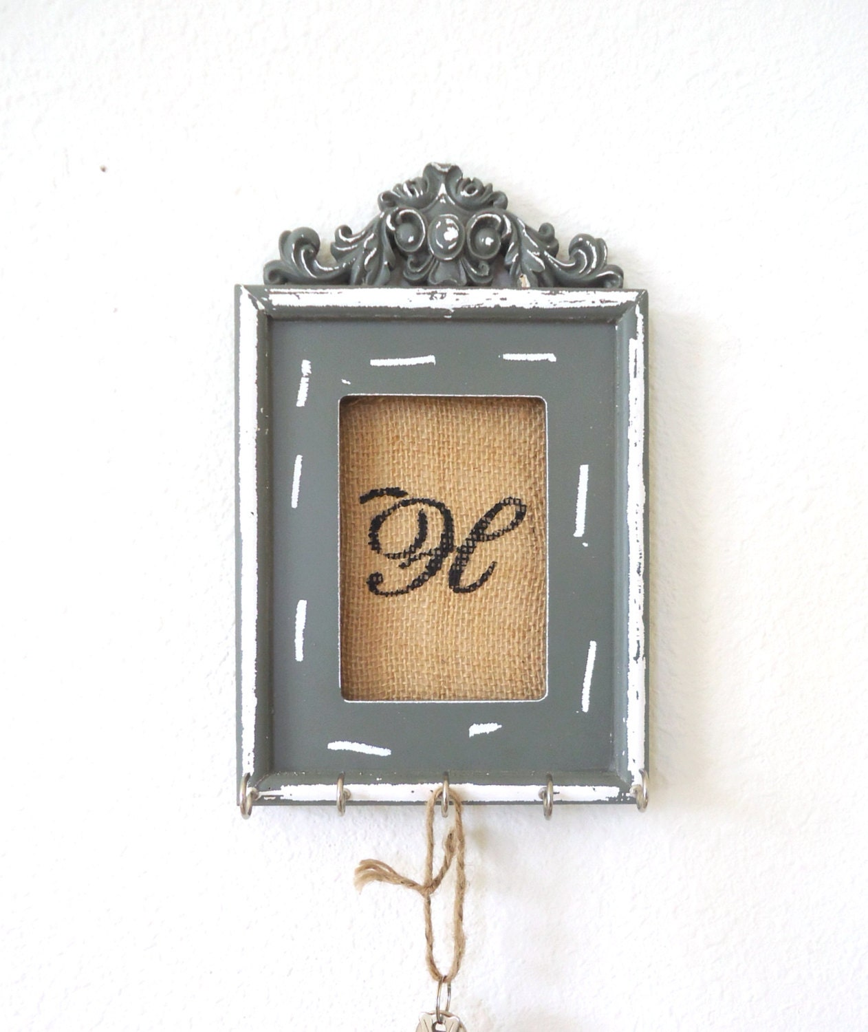 Key holder wall hook ornate frame personalized by thehopestack for Photo clip wall frame