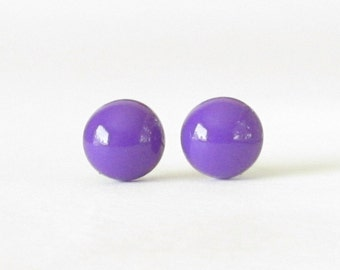 Grape Studs, Purple Earrings, Small Round Post Earrings, bright purple stud earrings, purple post earrings
