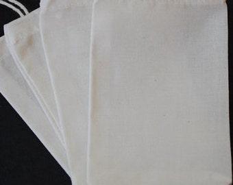 "1500 4""x6"" Organic Cotton Muslin Bag Culinary Reusable Packaging Biodegradable Ecofriendly Favor Unbleached Bulk Herb Tea Soap Jewelry Gift"