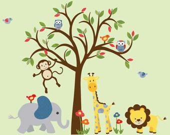 Kids Room Wall Decal, Safari Animal Wall Decal, Nursery Wall Decal, Jungle Animal wall decal, monkey decal, Jungle Bright Design